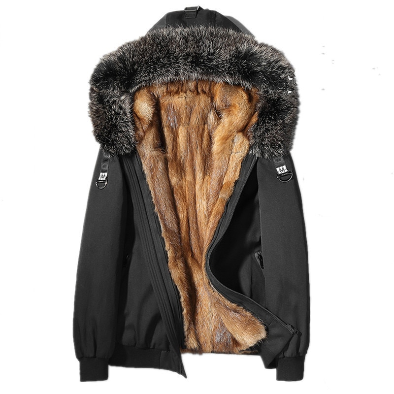 الفراء الحقيقي معطف الرجال الشتاء سترة الطبيعي المنك الفراء بطانة سترة الرجال ريال الراكون الفراء طوق سترة دافئة ستر L18-6603 MY1862