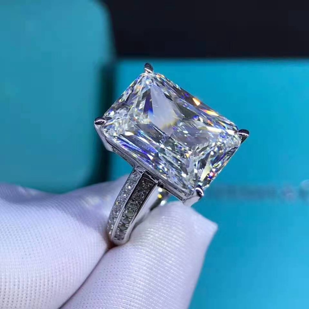 Wong Rain Classic 925 Sterling Silver 6 CT Princess Cut D Created Moissanite Engagement Customized Women Rings Fine Jewelry Gift