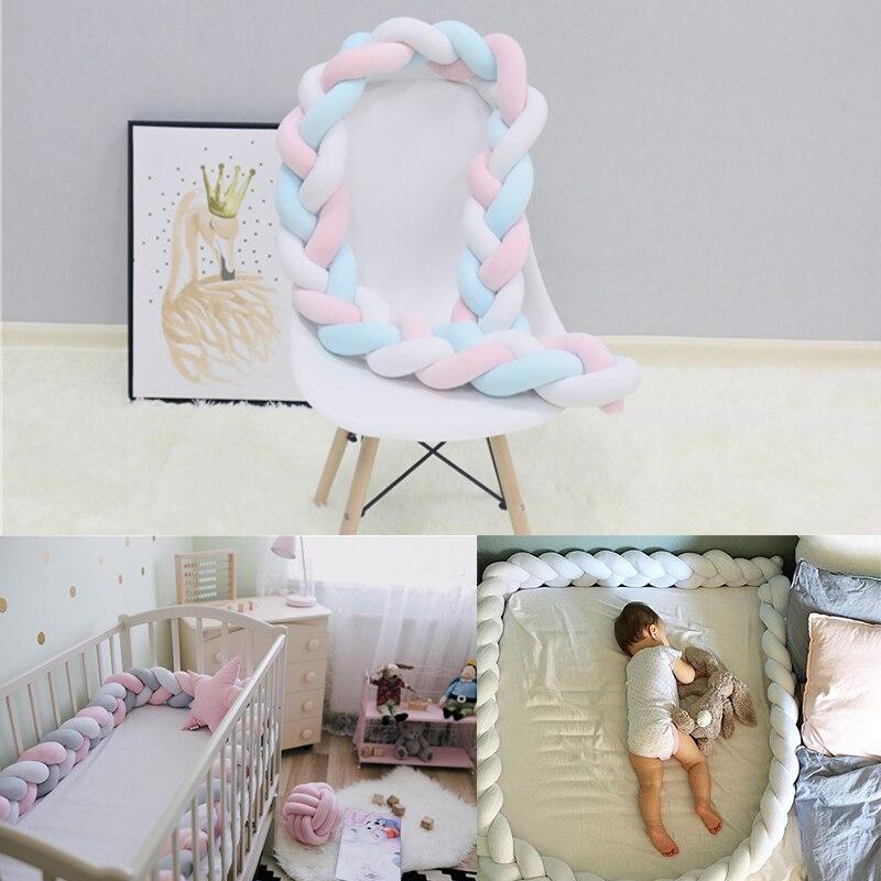 1 M/2 M/3 M Baby Bett Stoßstange Nordic Baby Room Decor Handmade Geknüpfte Geflecht Kinder Zaun baby Krippe Schutz Baby Wiege Baby Bettwäsche