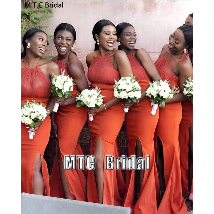 Orange Mermaid African Bridesmaid Dresses Backless Side Slit Sexy Best Women Wedding Party Dress Plus Size Maid Of Honor Gowns