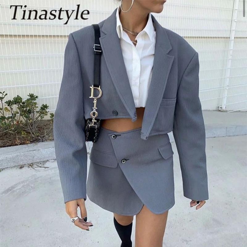 Tinastyle-طقم سروال قصير نسائي من قطعتين ، ملابس شتوية ، معطف بليزر كبير الحجم وتنورة عالية الخصر ، ملابس غير رسمية للمكتب