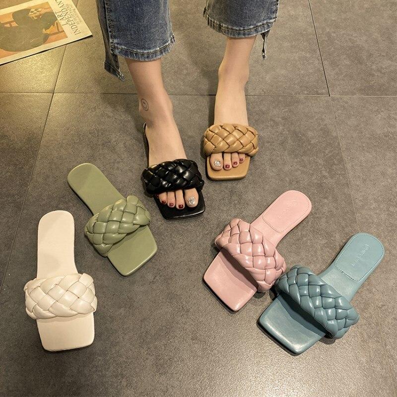 Zapatillas de mujer EOEODOIT, sandalias de cuero con tacón plano y trenza, zapatos informales de verano para vacaciones en la playa, zapatos planos para mujer
