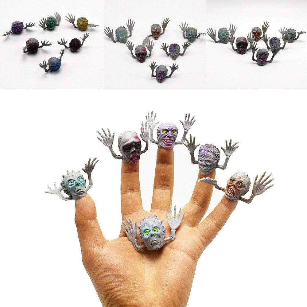 Juguetes de PVC 6 uds horrible fantasma máscara de cabeza de marioneta de dedo narración accesorios niñas títeres de dedo marioneta Z121