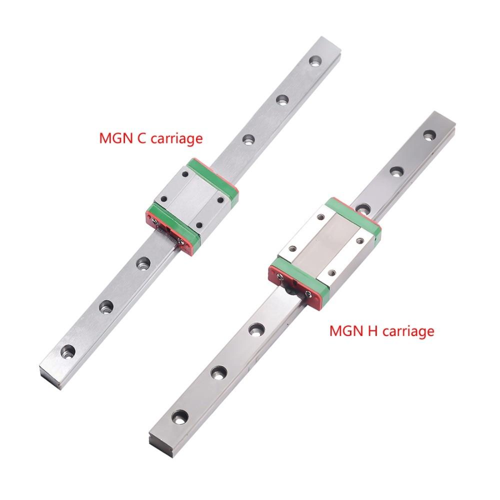 شحن مجاني 3D طباعة أجزاء cnc كوسيل مصغرة MGN12 12 مللي متر مصغرة خطي السكك الحديدية الشريحة 1 قطعة L-400mm السكك الحديدية + 1 قطعة MGN12H النقل