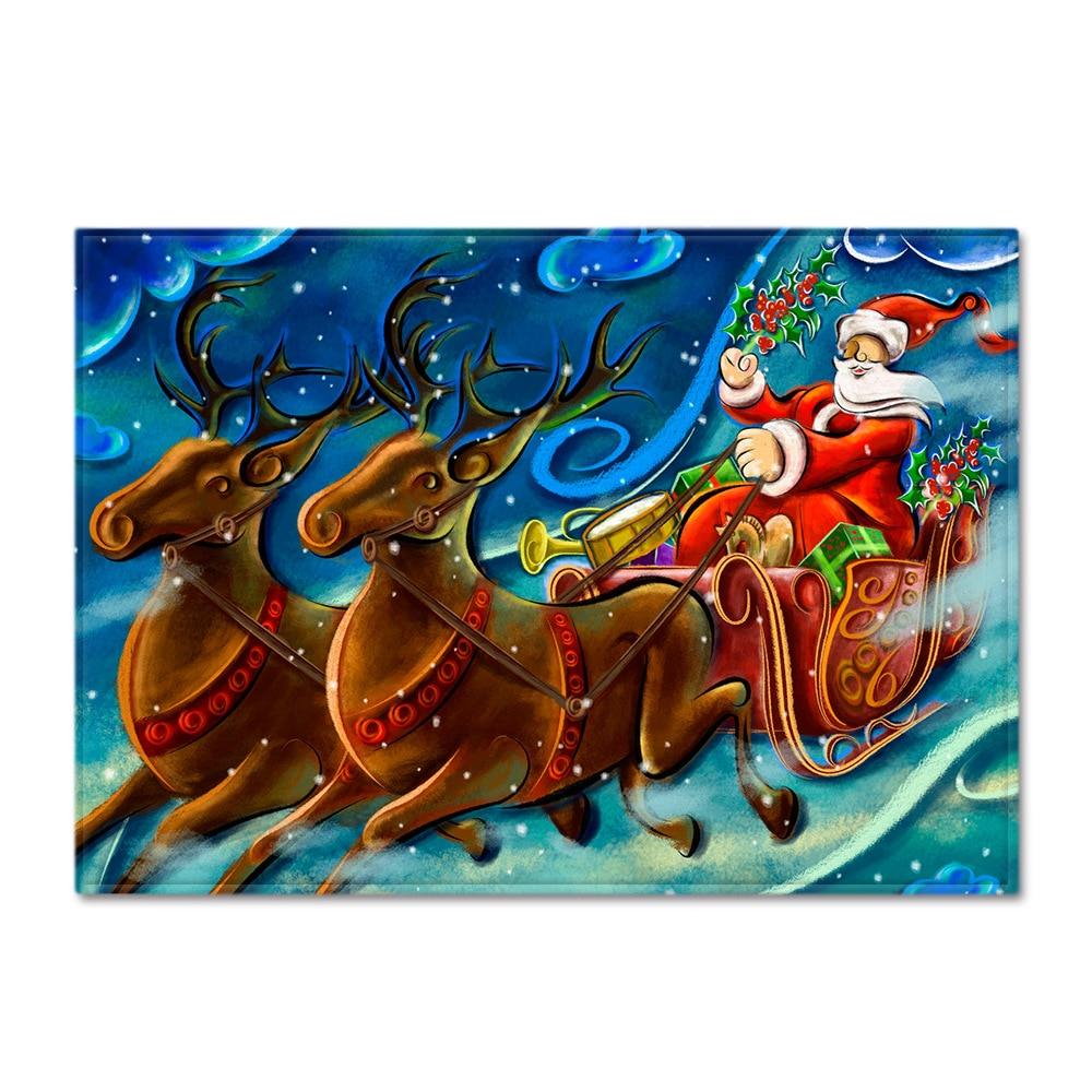 Árbol de Navidad decoraciones alfombras para el hogar de la sala de estar alfombra grande para niños habitación 3D Santa Claus alfombra estampada para niños tienda de juegos tapetes para el suelo