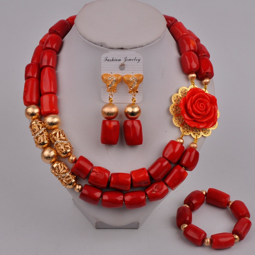Fashion Red Coral Jewelry Nigerian Coral Necklace Costume African Jewelry Set Women Bridal Jewelry Sets 314-B4