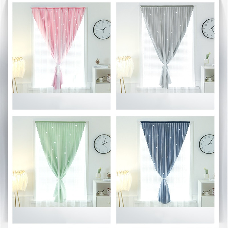 No need to perforate Velcro curtains, shading, anti-ultraviolet light gauze, easy to install curtains, used for family bedroom