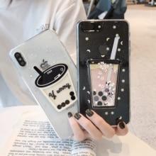 Cute Pearl Milk Tea Phone Case For iPhone XS Max XR XS 6 6S 7 8Plus 10X Transparent Soft TPU Phone Housing Back Cover Capa Funda