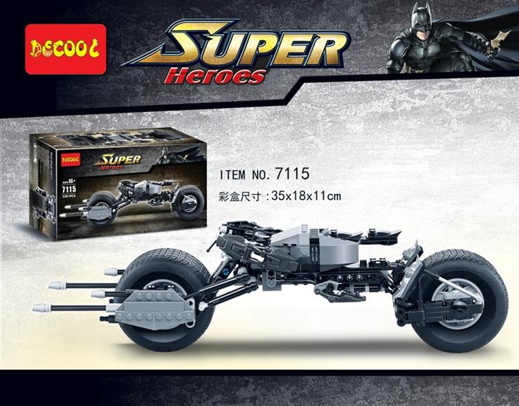 Decool 7115 The Dark Knight Lepining Batman Batcycle Batmobile 338PCS Bricks Batpod Building Blocks Toys