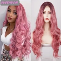 pink body wave part lace wig brown natural wavy synthetic lace front wigs for black women heat resistant fiber cosplay lace wig