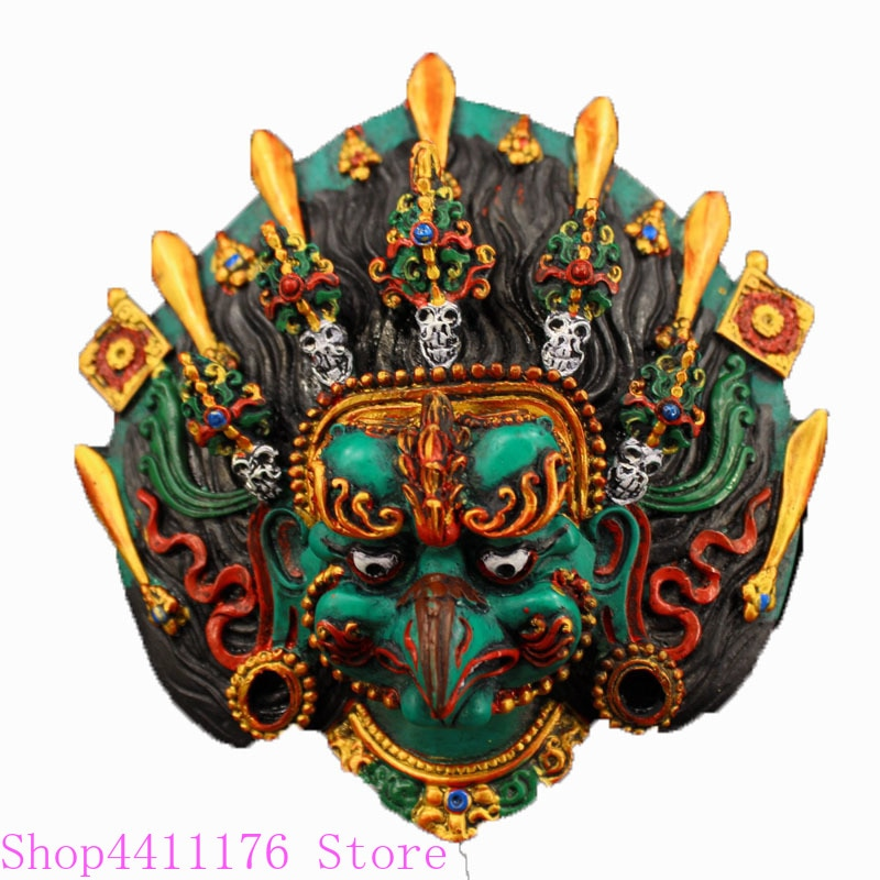 Nepal recogido hecho a mano dibujo de color dorado águila mano Lacquerware hung estatua guard exorcise evil spirit decoración del hogar
