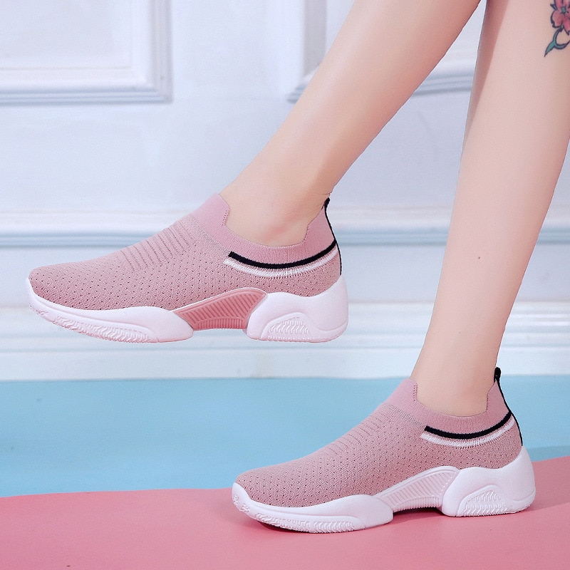 Sneakers Women Shoes High Quality Non-Slip Flats Loafers Plus Size Walking Flat Weaving 2020