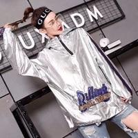 metallic spring 2020 color long hoodedatshirts women fashion letter sequined stripe thin sweatshirts lyw65