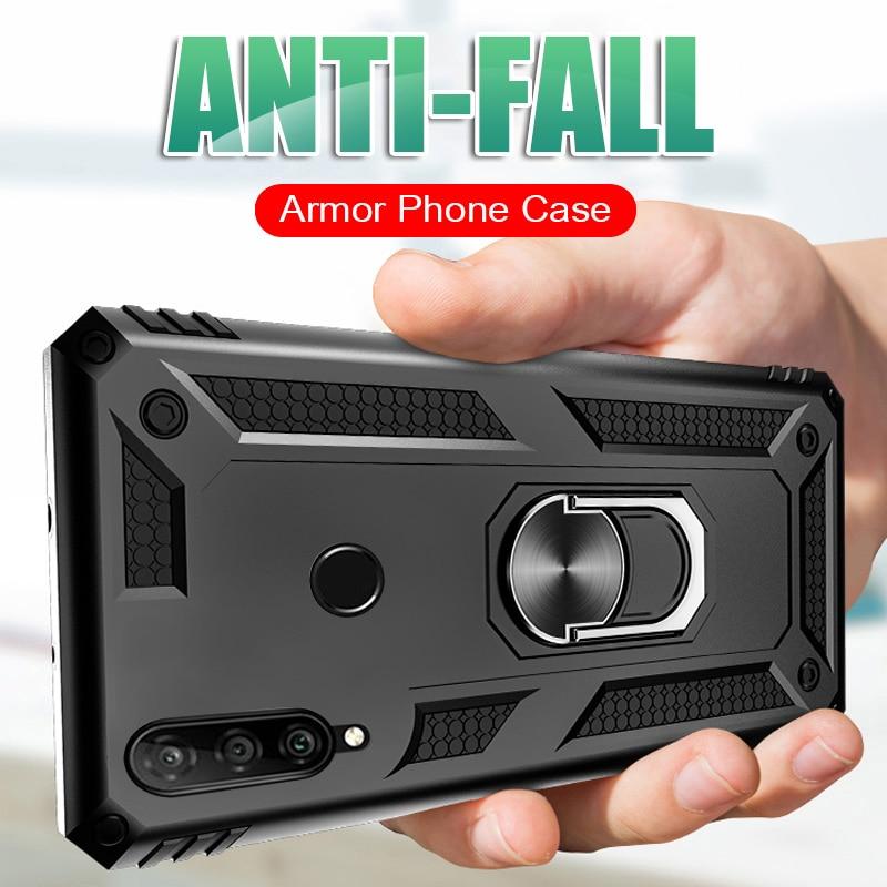 Carcasa de lujo a prueba de golpes para Huawei P40 Pro PLus P30 Lite P20 Mate 20 30 funda completa Honor 20 10 Lite 9X fundas de soporte de anillo