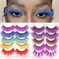 5 pairs 3d color false eyelashes natural long imitation mink fluffy style eyelash extension makeup hand made colorful eyelash
