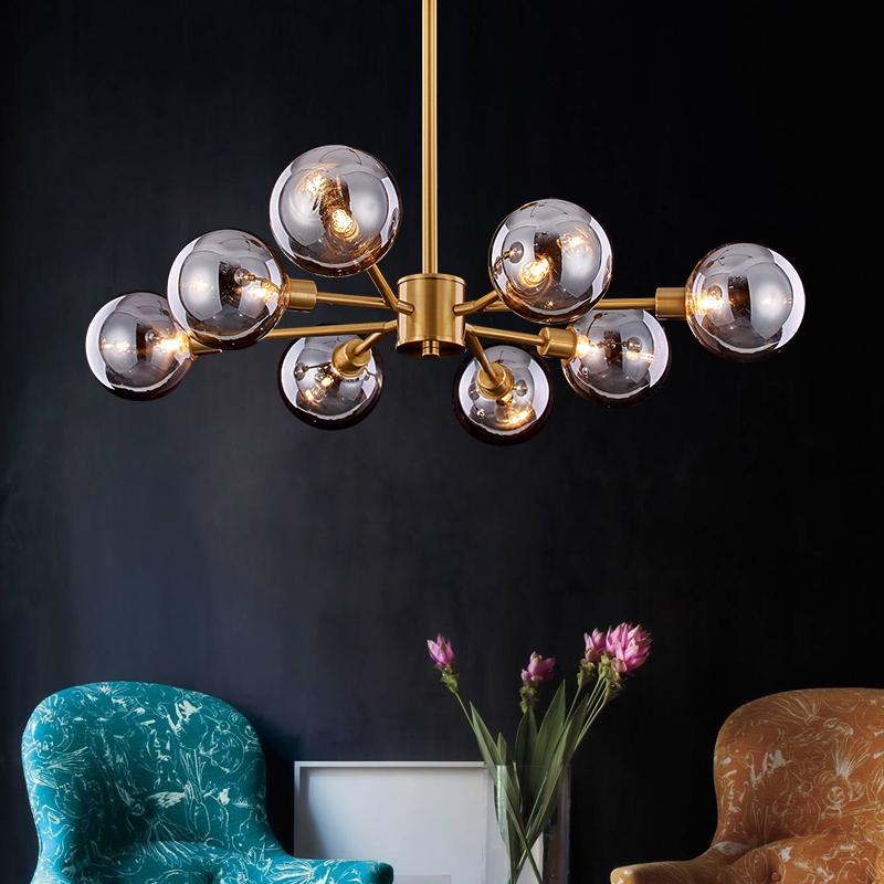 Modern Glass Pendant Lights LED Iron Hanging Lamp glod Living Room Bedroom Pendant Lamp Dining Room Loft Home kitchen Luminaria