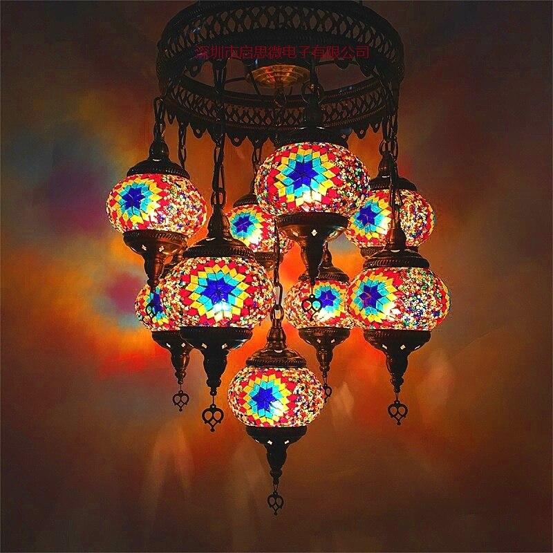 New Style 9 heads Turkish mosaic pendant Lamp vintage art deco Handcrafted lamparas de mesa mosaic Glass romantic  light