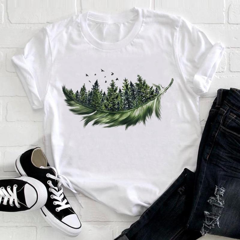 Women 2021 Feather Bird Short Sleeve Printing Spring Fashion Lady Clothes Print Tshirt Female Tee Top Ladies Graphic T-shirt