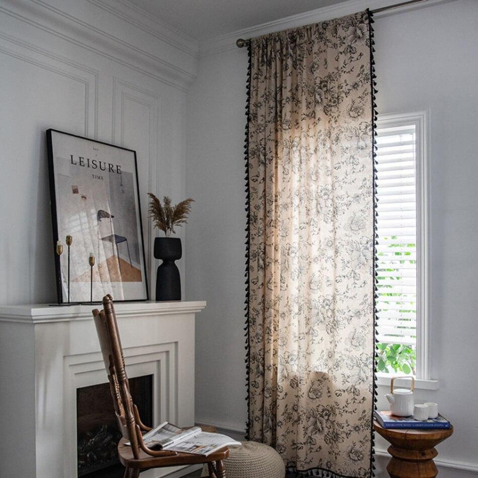 الأمريكية زهرة الورد الطباعة شرابة صغيرة نافذة الستار القطن و الكتان شبه التظليل نوم نافذة غطاء شاشة الديكور