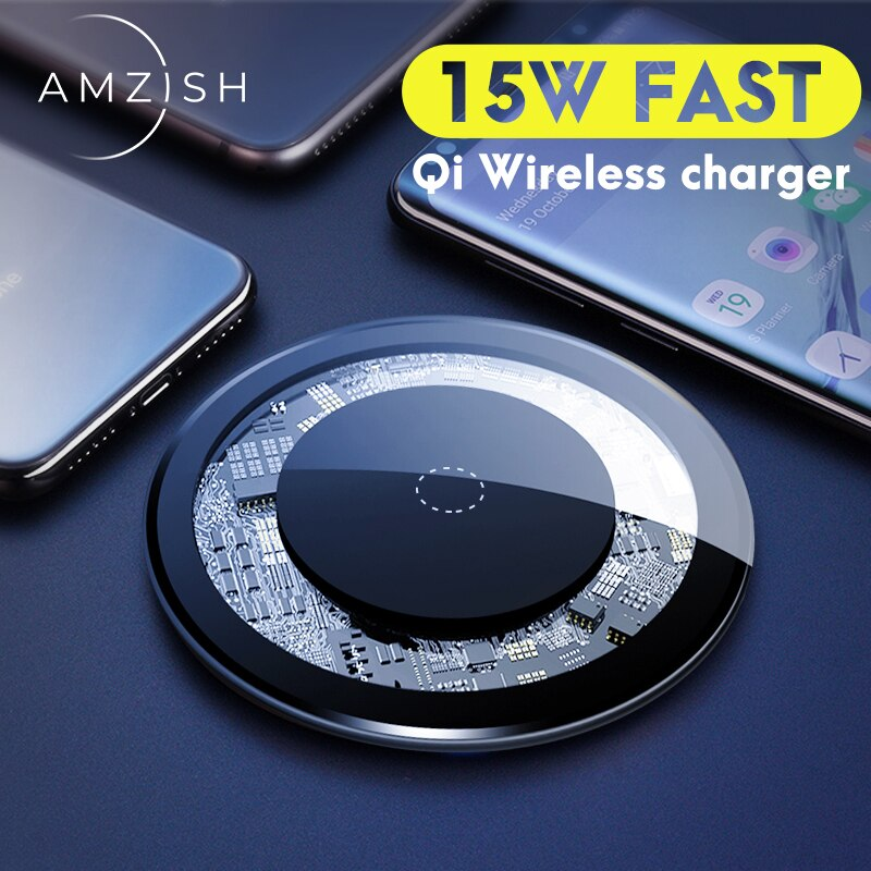 amzish 15W Fast QI Wireless Charger For iPhone 8 Plus X XR XS Max 11 Visible Wireless Charging Pad For Samsung S9 S10 Note 9 8