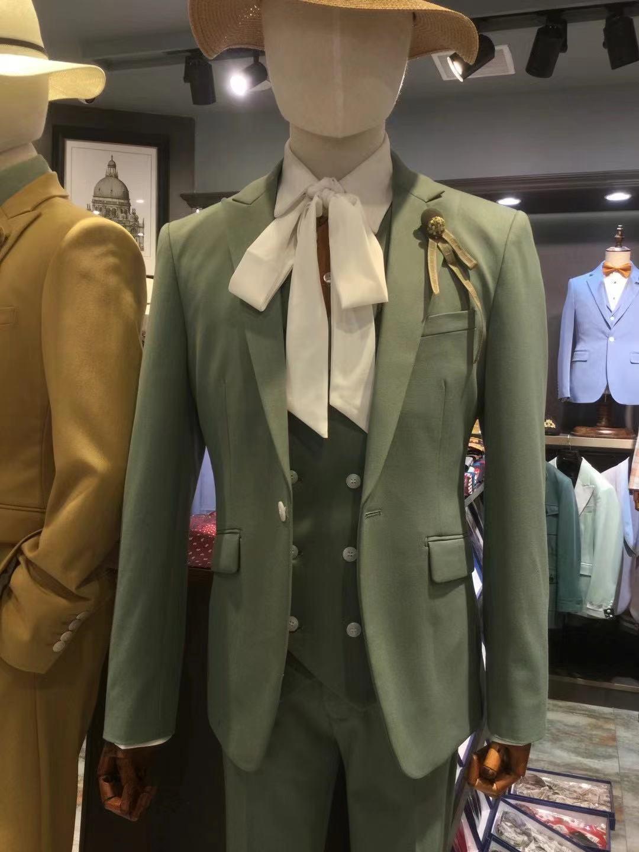 2021 موضة كلاسيكي الأخضر الرسمي بدل زفاف للرجال سليم 3 قطعة العريس رجل معطف حفلة رجل البدلة سترة سهرة السراويل