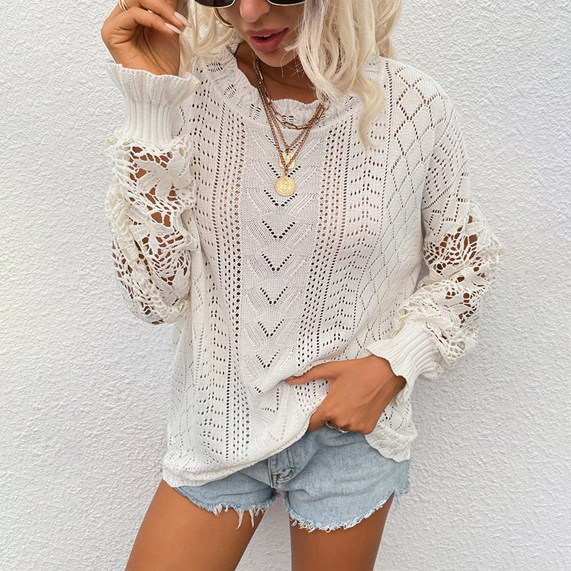 Sweater Women Fashion Sexy Lace Hollow Out Knitwear Pullover Elegant Long Sleeve Casual Loose Spring Autumn 2021 Sueter De Mujer