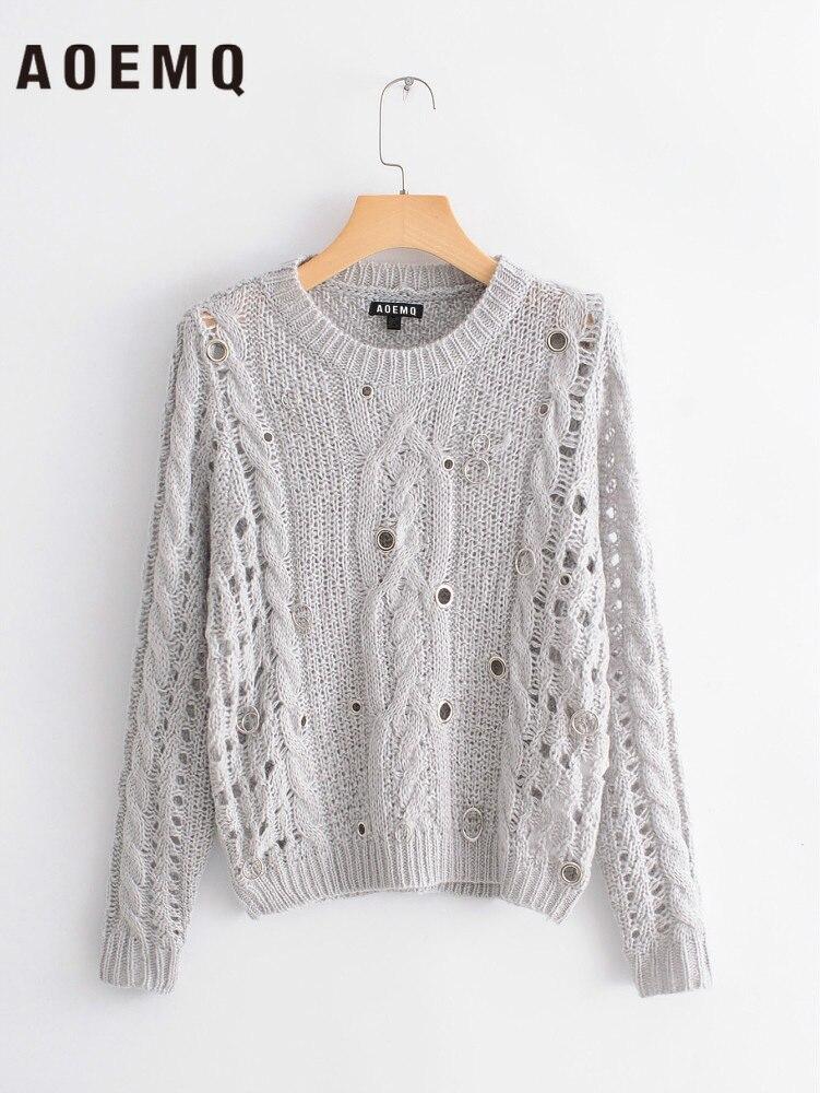 AOEMQ, suéteres finos grises de moda con agujero redondo de Metal, suéteres transpirables, suéteres modernos Punk, Tops de mujer, ropa de primavera