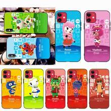 HPCHCJHM amiibo 카드 animal crossing 소프트 블랙 폰 케이스 for iPhone 11 pro XS MAX 8 7 6 6S Plus X 5S SE XR 케이스