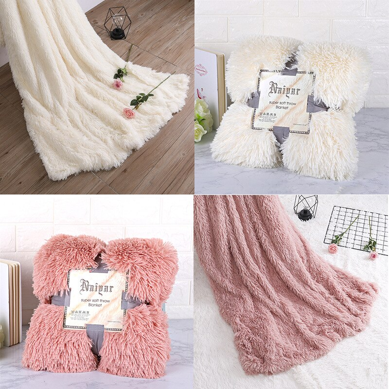 Super Soft Fuzzy Fur Faux Elegant Cozy With Fluffy Throw Blanket Bed Sofa Bedspread Long Shaggy Soft Warm Bedding Sheet Large