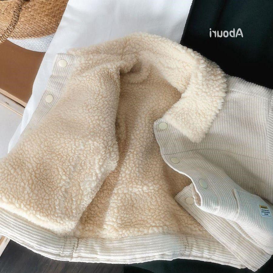 Детские зимние куртки для маленьких мальчиков и девочек, утепленные пальто из овечьей шерсти, Корейская Вельветовая теплая Двусторонняя куртка для малышей-4