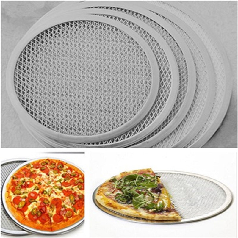 Tela de pizza de malha plana de alumínio bandeja de cozimento redonda ferramenta de cozinha líquida 6 polegadas-7 polegada ferramentas de cozinha quente alta qualidade