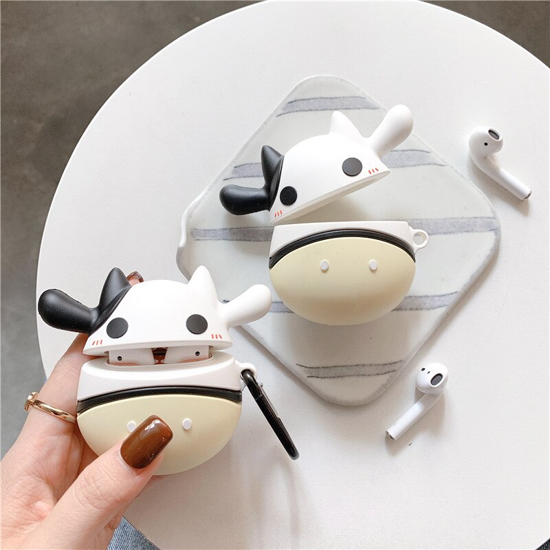 Cute earphone case holder protective plush for Apple headset sleeve airpods 1 2 generation wireless Bluetooth Cute little cow enlarge