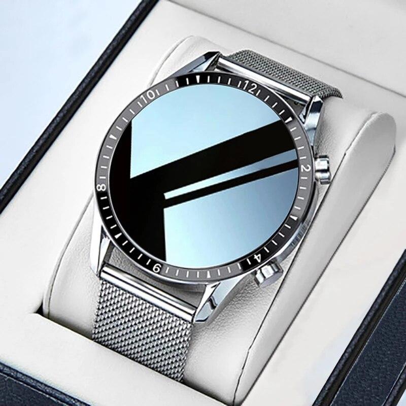 GEJIAN Luxury Brand Mens Smart Watch Steel Band Fitness Watch Heart Rate Blood Pressure Activity Tra
