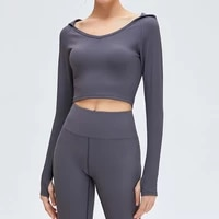 tight yoga shirt women long sleeve hooded sports fitness running crop tops female workout top gym training clothes