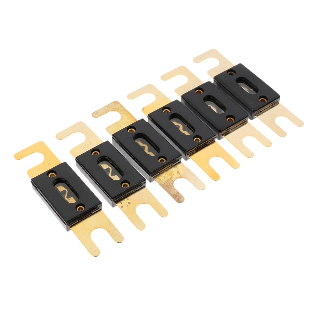 6 piezas chapado en oro 80A 125A 160A coche estéreo de Audio ANL fusible de hoja de
