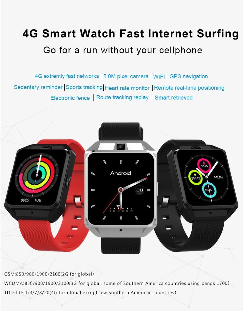 ЖК-дисплей 4G Смарт-часы Bluetooth Смарт-часы Andrios IOS с 4G Wifi Интернет навигация видео музыка камера погода браузер