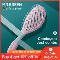 Массажные гребни MR.GREEN, расческа для волос с вырезами, Стайлинг волос, массаж кожи головы, быстрое высыхание, щетка для влажных и сухих волос