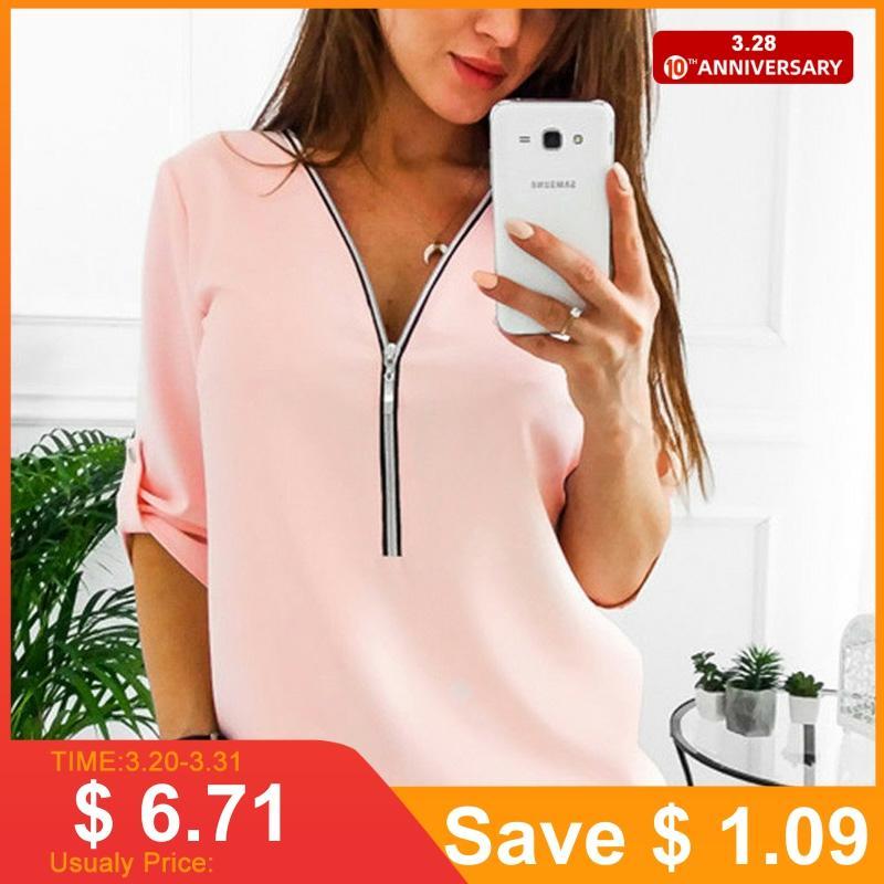 Jocoo Jolee femmes fermeture éclair manches courtes chemises femmes hauts et chemisiers Sexy col en V t-shirt haut décontracté femme tunique grande taille