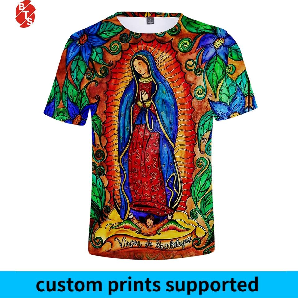 Camisetas de verano con estampado 3D de Nuestra Señora de Guadalupe 2018 para mujer/hombre, camisetas modernas de manga corta con cuello redondo, camisetas casuales de talla grande