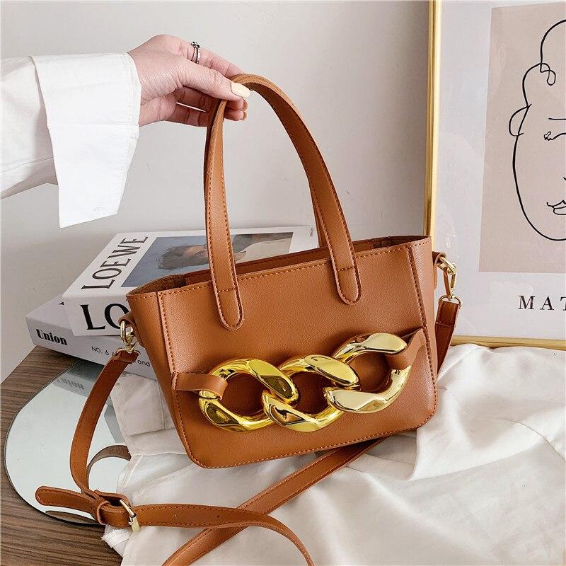 Casual Waterproof Soft PU Leather Shoulder Bags for Women 2021 Simple Womens Handbag Fashion Elegant Thick Chain Crossbody Bag