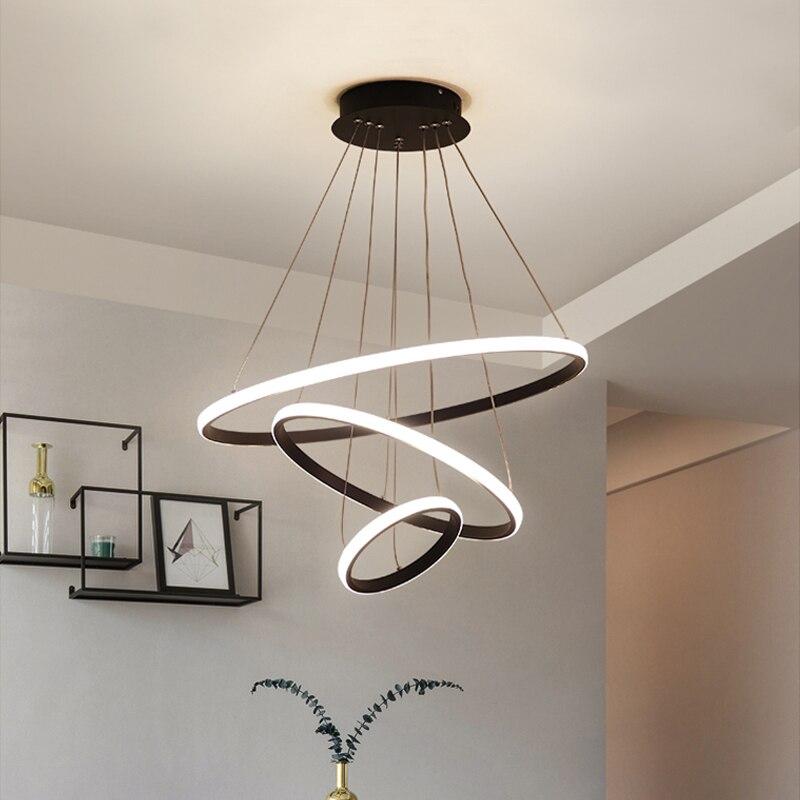 Moderne Anhänger lampe Led 3/4/5 Ringe Kreis Decke Hängen Kronleuchter Schwarz Loft Wohnzimmer Esszimmer Küche Beleuchtung Leuchte