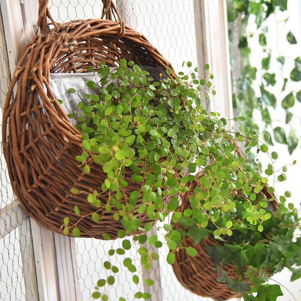 Keranjang rotan bunga rotan menggantung periuk pokok anggur penanaman - Peralatan berkebun - Foto 2