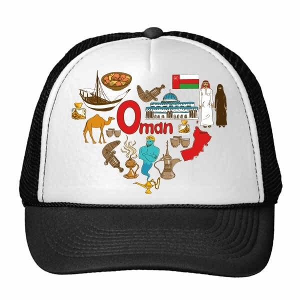 Omán amor corazón paisaje aduana bandera Resident Diet gorra de béisbol gorra de malla de Nylon sombrero fresco niños gorra ajustable