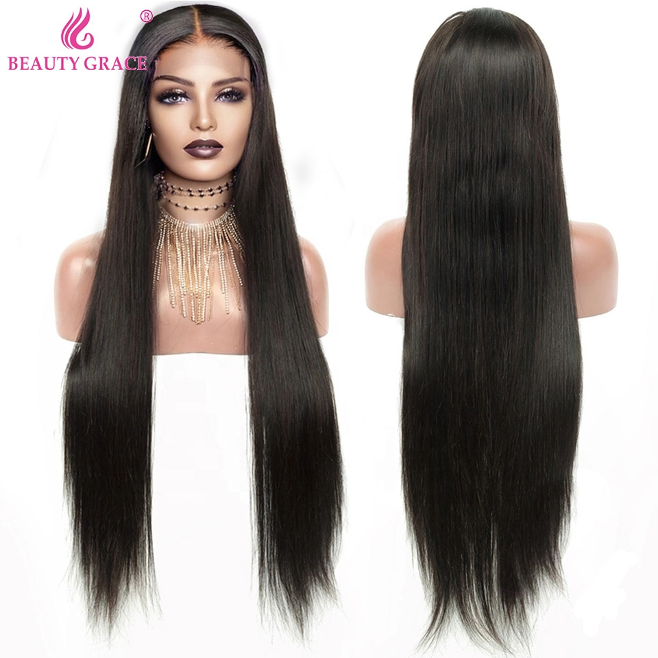 Brazilian Straight Lace Front Wig 40 Inch Brazilian Human Hair Lace Frontal Wigs For Women Pre Plucked 4X4 Lace Closure Wig