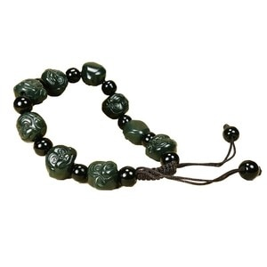 Natural Hetian Jade Monkey head Jade Bracelet Jewelry Lucky exorcise evil spirits Auspicious Amulet Fine Jewelry Jade Bracelet