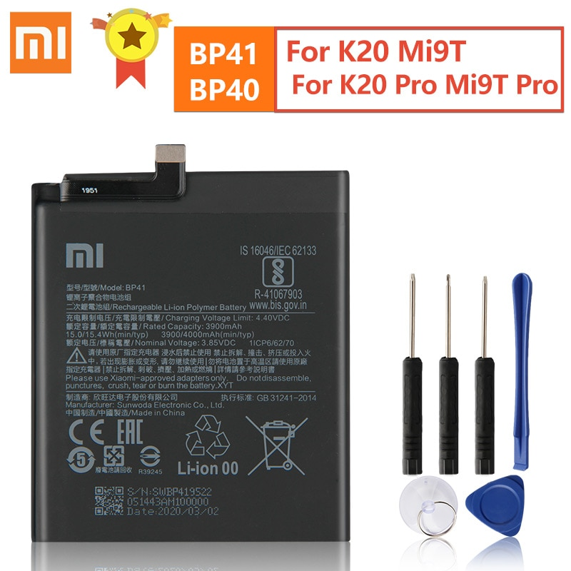Original Replacement Battery BP41 BP40 For Xiaomi Redmi K20 Pro Mi 9T Pro Mi9T Redmi K20Pro Premium Genuine Battery 3900mAh недорого