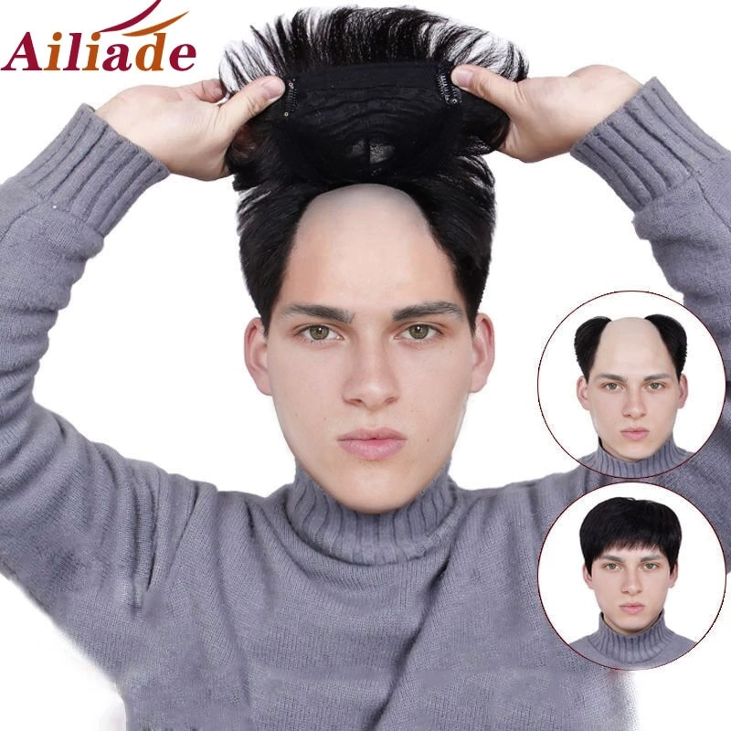 AILIADE Men's Toupee Real Human Natural Black Straight hair Hair Pieces Men Wig Hairpiece Replacement Systems 16*18 for Men