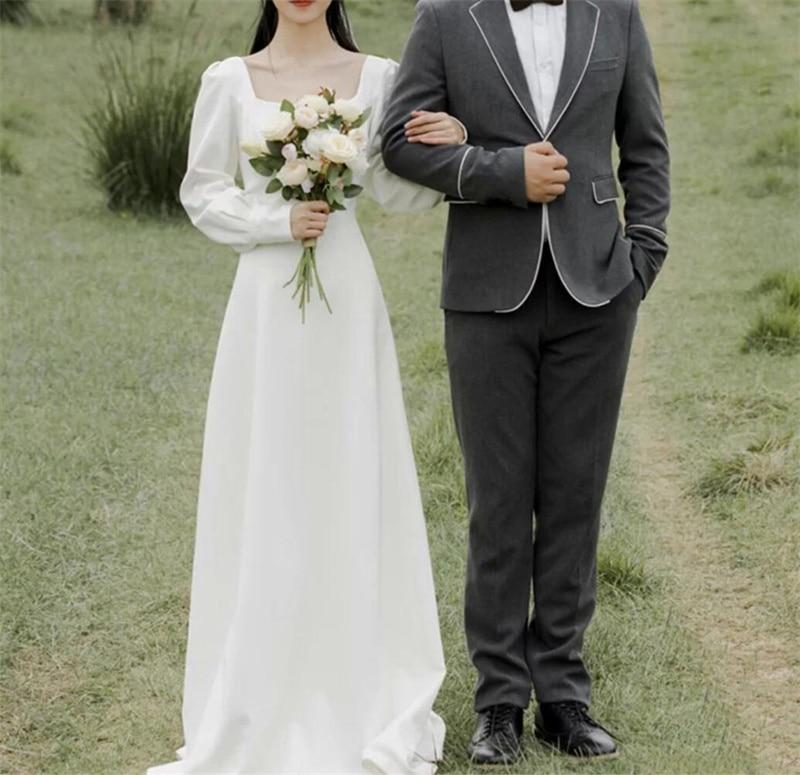 لينة الساتان بسيط ألف خط مربع الرقبة خمر كم طويل الاجتياح قطار الزفاف ثوب الزفاف العروس رداء دي ماري