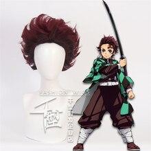 New Kamado Tanjirou Wig Cosplay Set Anime Demon Slayer Character Costume Prop Uniform