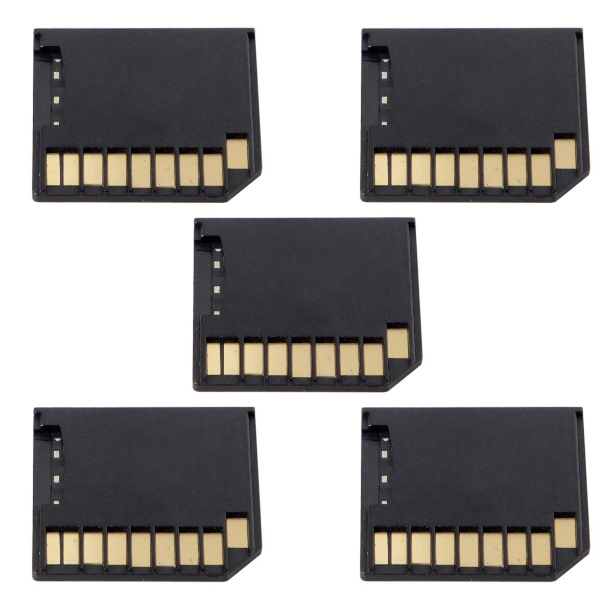 5 piezas Micro SD TF a Kit de tarjeta SD Mini adaptador de perfil bajo para almacenamiento Extra Macbook Air/Pro /Retina negro